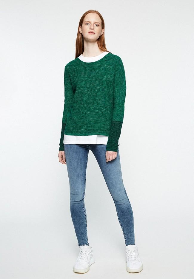 Pull en maille bicolore vert en coton bio - kaela mouliné - Armedangels num 3
