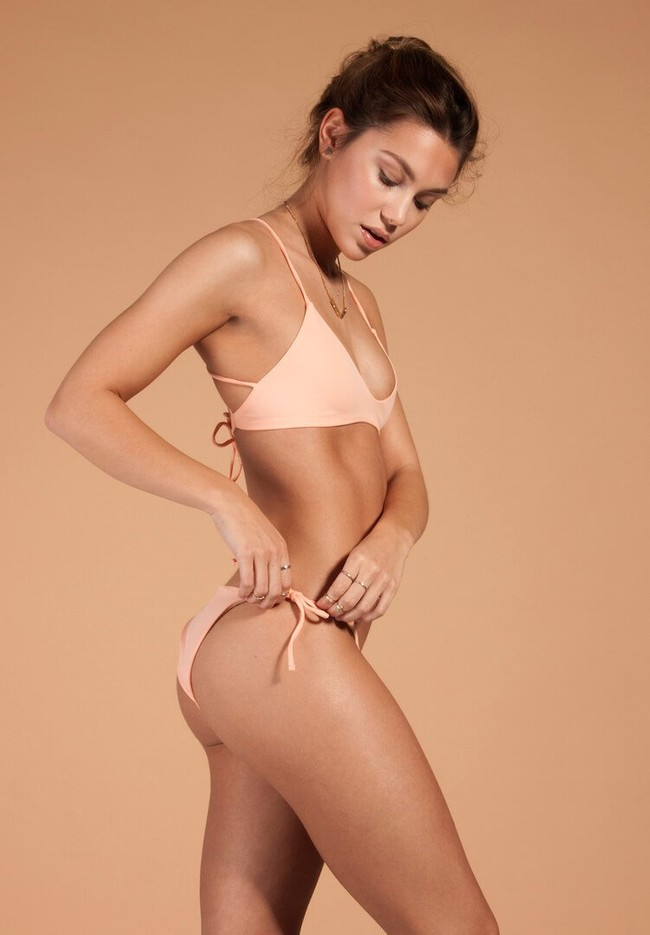 Bas de bikini rose en polyamide recyclé - Ocealah num 1