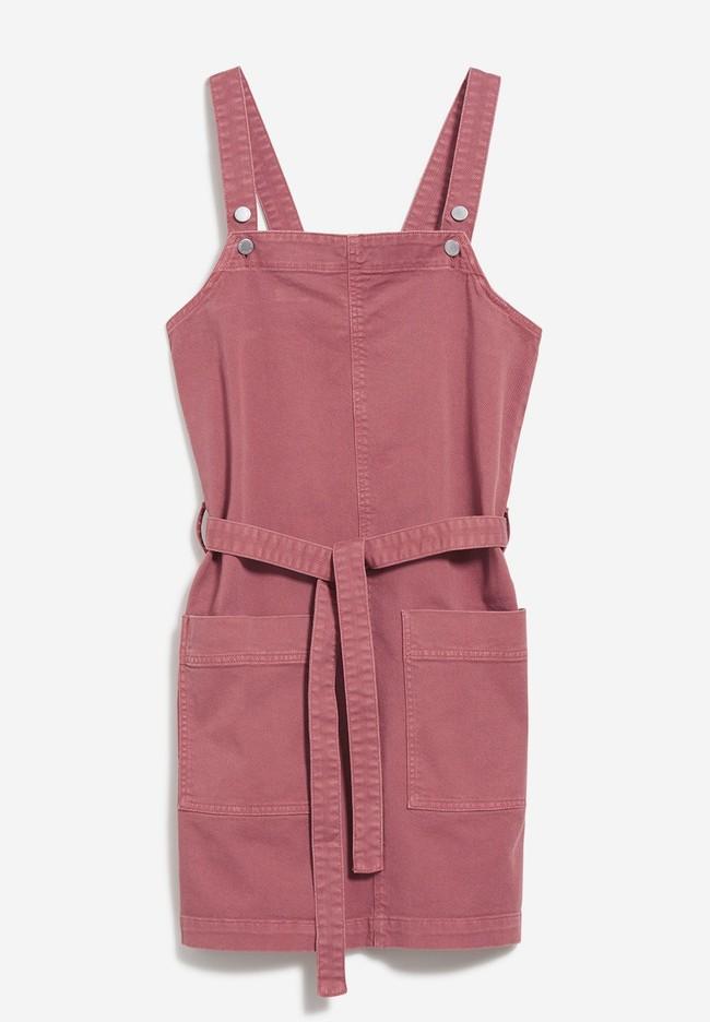 Robe salopette cintrée rose en coton bio - leoniaa - Armedangels num 5
