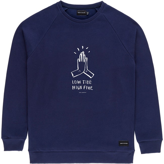 Sweat en coton bio navy high five - Bask in the Sun