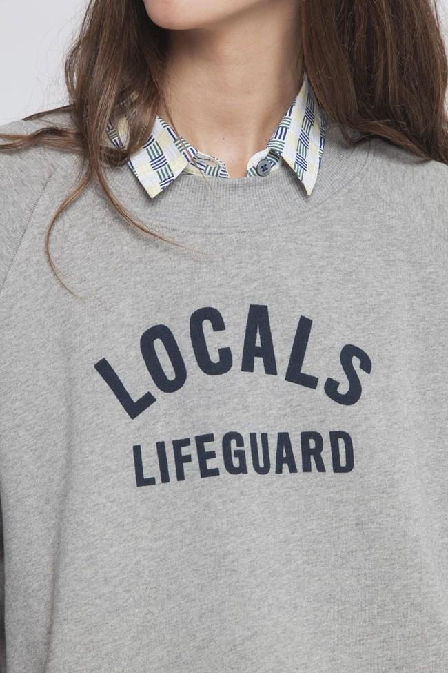 Sweat gris en coton bio - locals lifeguard - Thinking Mu num 4