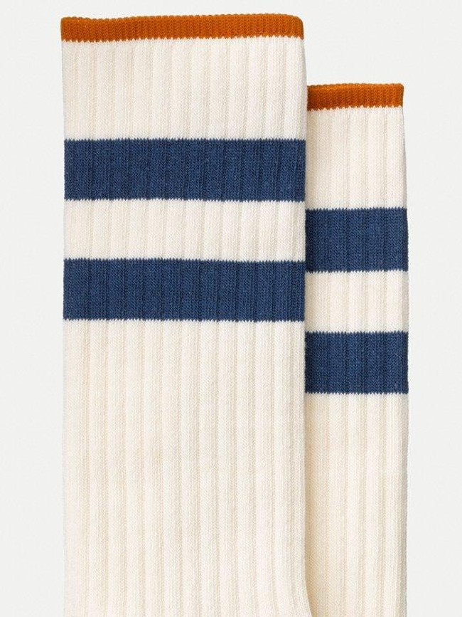 Chaussettes hautes blanc et marine en coton bio - amundsson sport - Nudie Jeans num 1