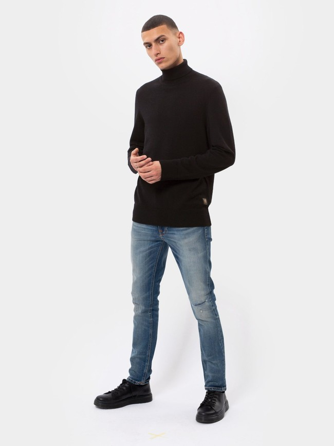 Pull col roulé noir en coton bio - cornelis - Nudie Jeans num 3