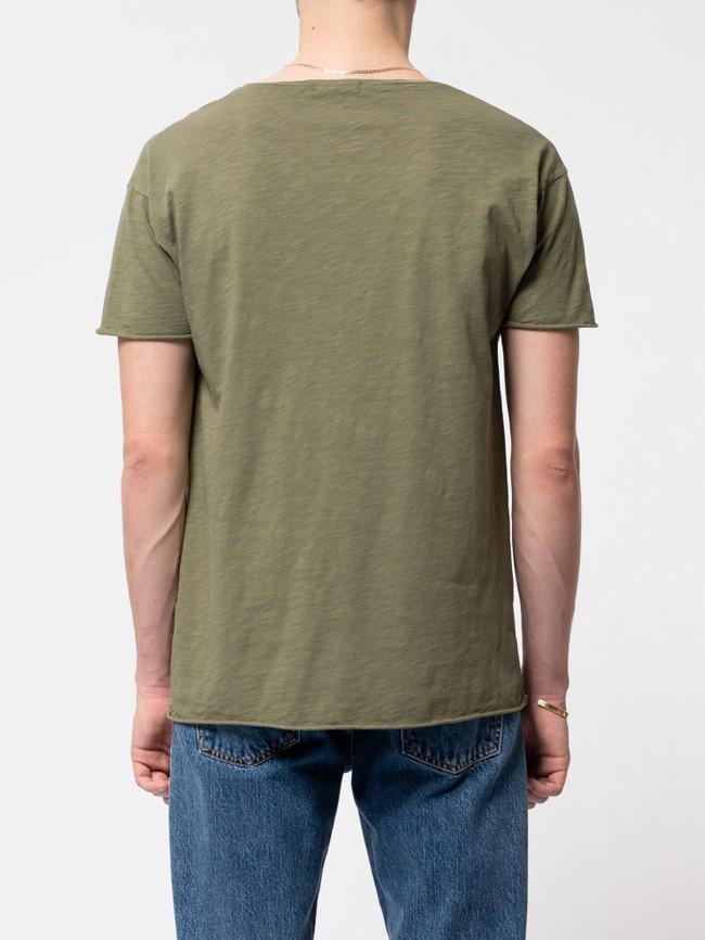 T-shirt kaki en coton bio - roger - Nudie Jeans num 2