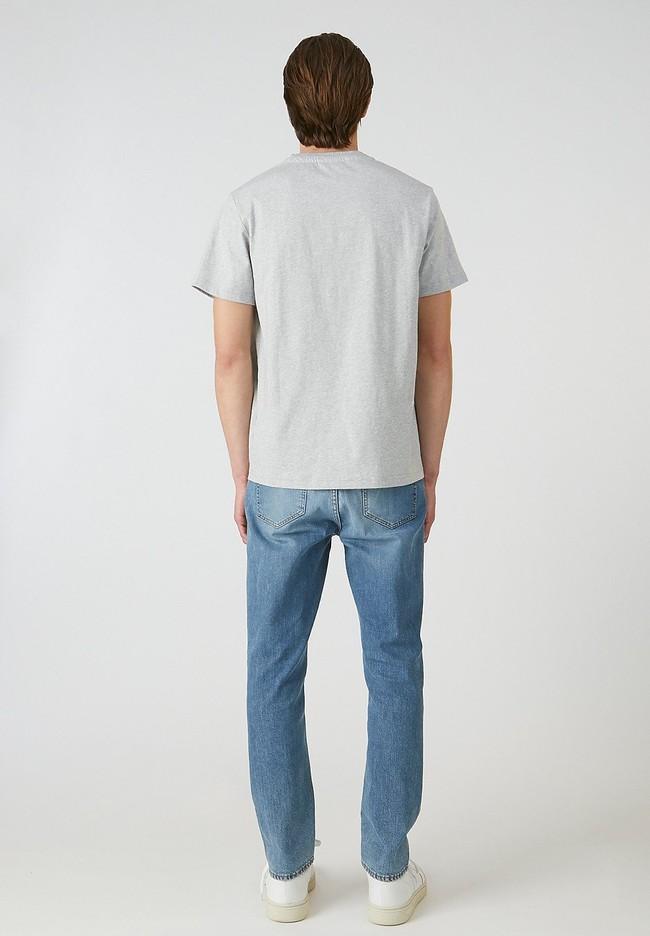 T-shirt imprimé gris en coton bio - aado ride bike - Armedangels num 3