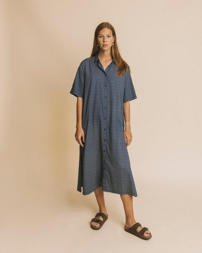 Robe longue oversize bleue en coton bio - mandy - Thinking Mu num 1
