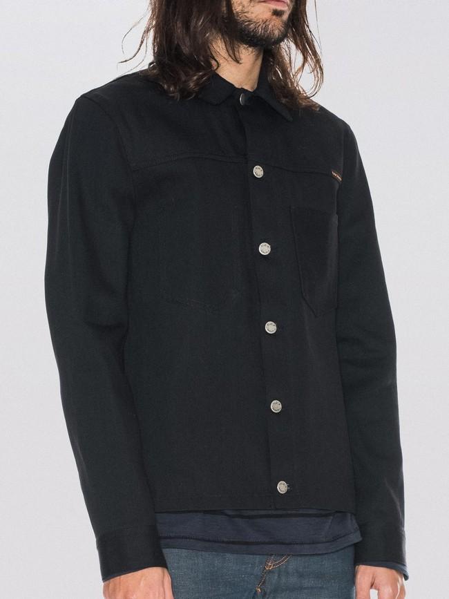 Veste en jean selvage noir en coton bio - ronny - Nudie Jeans num 1