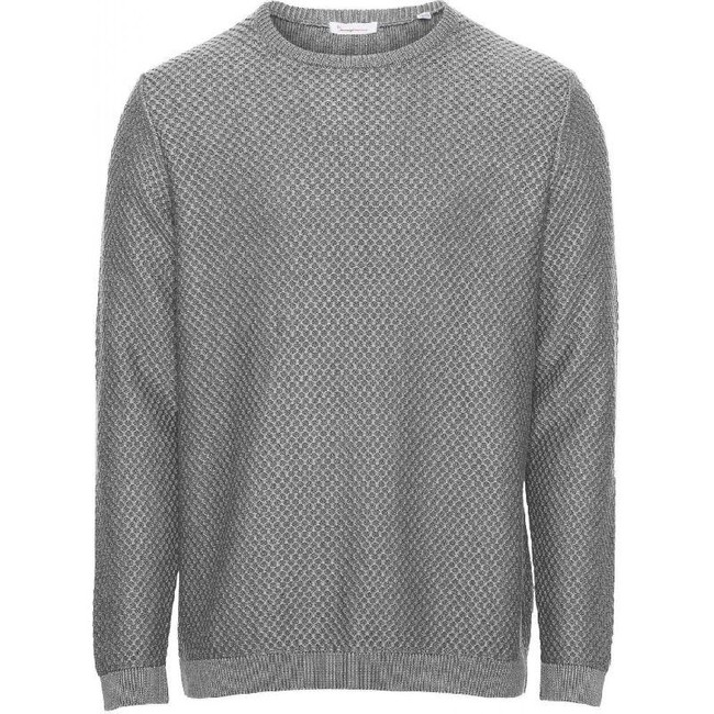 Pull col rond gris en coton bio - field - Knowledge Cotton Apparel