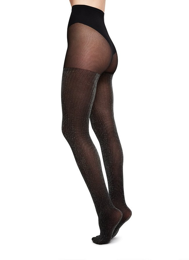 Collants à paillettes argentées 40 deniers noirs recyclés - lisa - Swedish Stockings