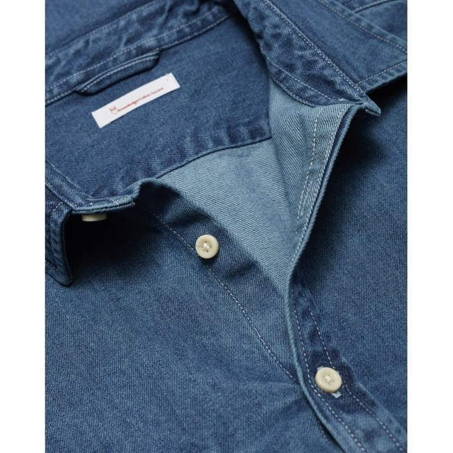 Chemise bleu jean en coton bio - larch - Knowledge Cotton Apparel num 2