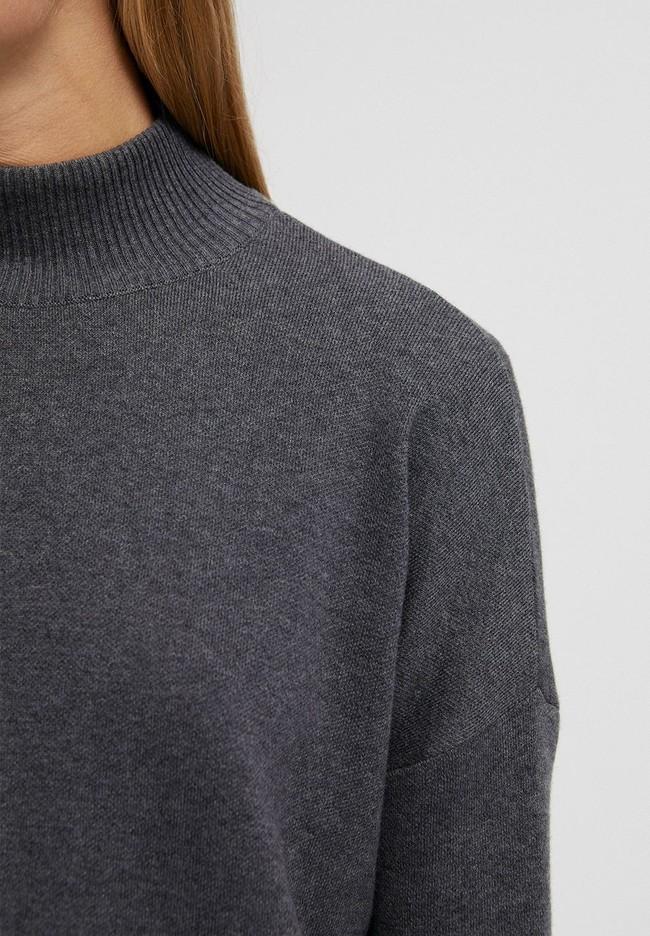 Pull ample à col cheminée gris en coton bio - yunaa - Armedangels num 3