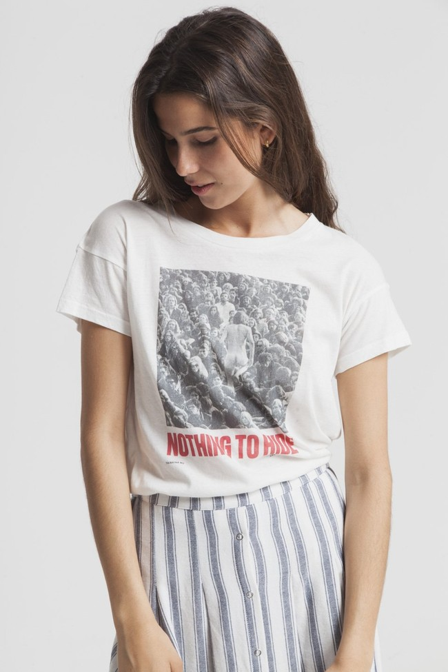 T-shirt imprimé blanc en coton bio - nothing to hide - Thinking Mu num 3