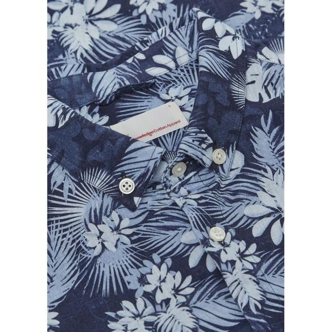 Chemise palmiers en coton bio et lin - Knowledge Cotton Apparel num 1