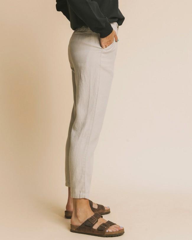 Pantalon beige en chanvre, coton bio et tencel - dafne - Thinking Mu num 2