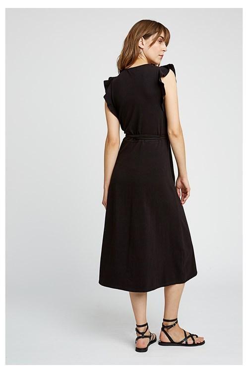 Robe longue unie noire en coton bio - melanie - People Tree num 1