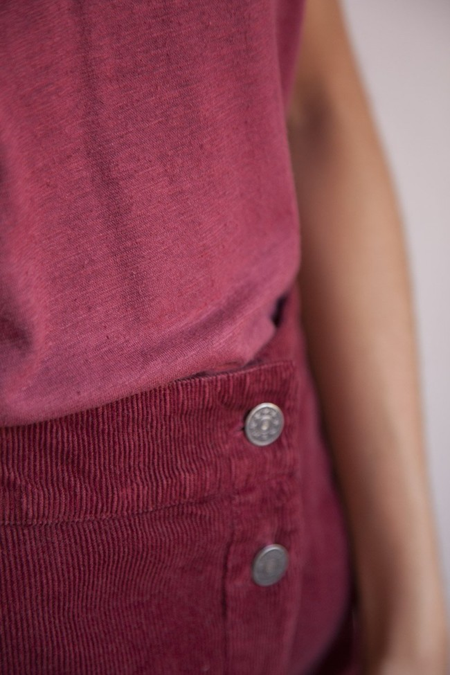 Jupe longue rouge bordeaux coton bio - Thinking Mu num 2