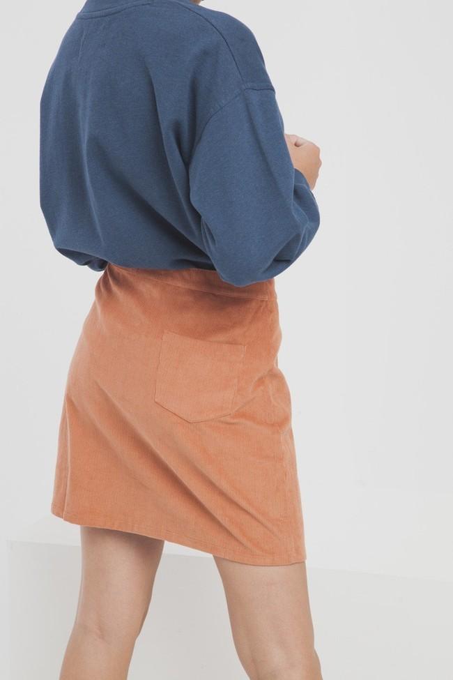 Jupe courte orange en coton biologique - Thinking Mu num 4