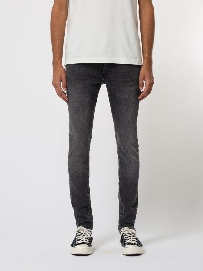 Jean skinny noir délavé en coton bio - tight terry black treats - Nudie Jeans