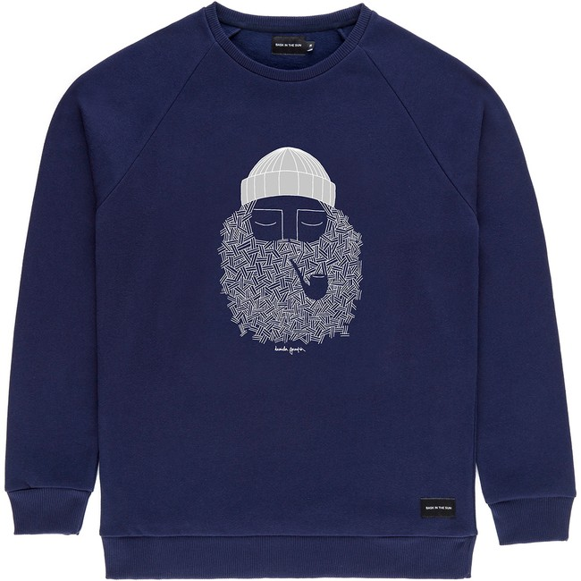 Sweat en coton bio navy smoking pipe - Bask in the Sun