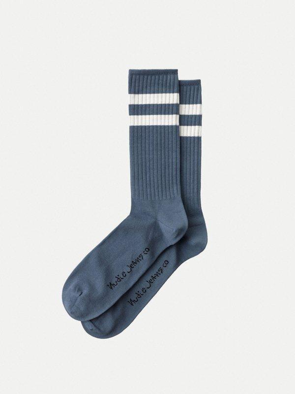 Chaussettes hautes bleues en coton bio - amundsson sport - Nudie Jeans