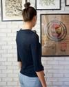 T-shirt zaza marine uni en 100% lin écologique - Aatise - 3