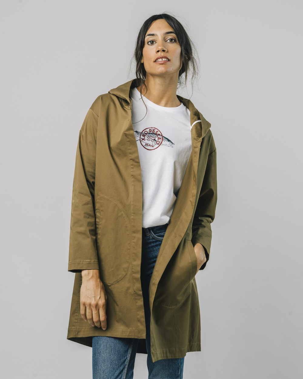 Hooded parka kakhi - Brava Fabrics