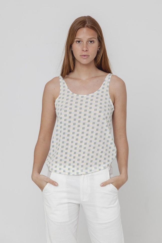 Top imprimé blanc en coton bio - toldos - Thinking Mu