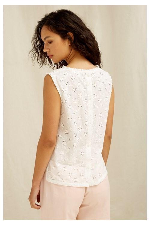 T-shirt sans manches blanc motifs broderie - katrina - People Tree num 2