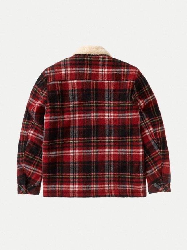 Veste sherpa carreaux rouge en laine recyclée - lenny - Nudie Jeans num 9