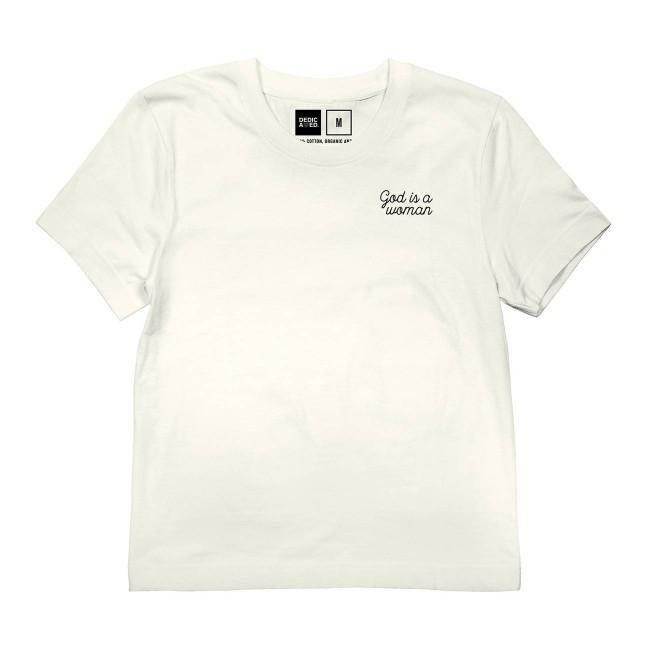 T-shirt blanc brodé - god is a woman - Dedicated num 3