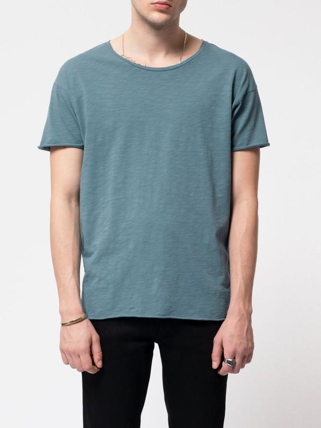 T-shirt bleu en coton bio - roger - Nudie Jeans