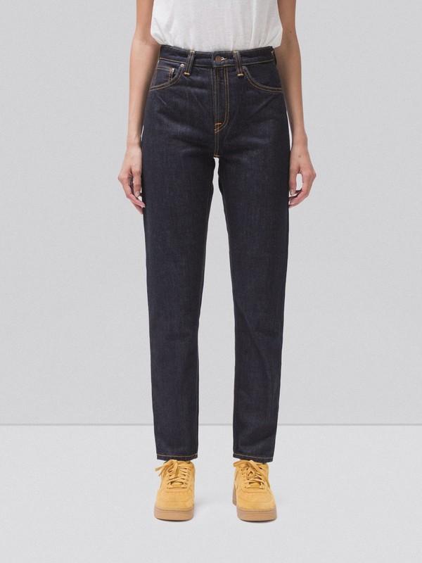 Jean mom gris en coton bio - breezy britt desert night - Nudie Jeans