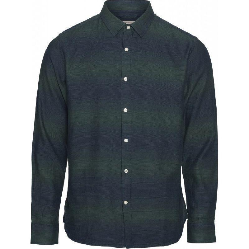 Chemise rayée vert et marine en coton bio - elder - Knowledge Cotton Apparel