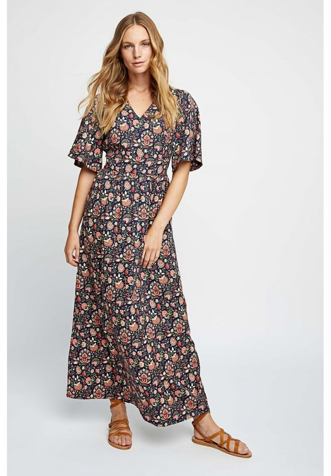 Robe longue imprimé floral en tencel - yasmin print maxi dress - People Tree