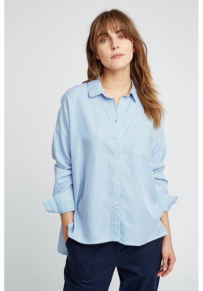Chemise rayée bleu ciel en tencel - alice - People Tree