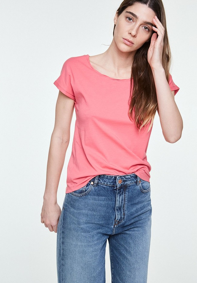 T-shirt uni rose en coton bio - laale - Armedangels