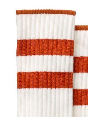 Chaussettes hautes blanc et orange en coton bio - amundsson sport - Nudie Jeans num 1