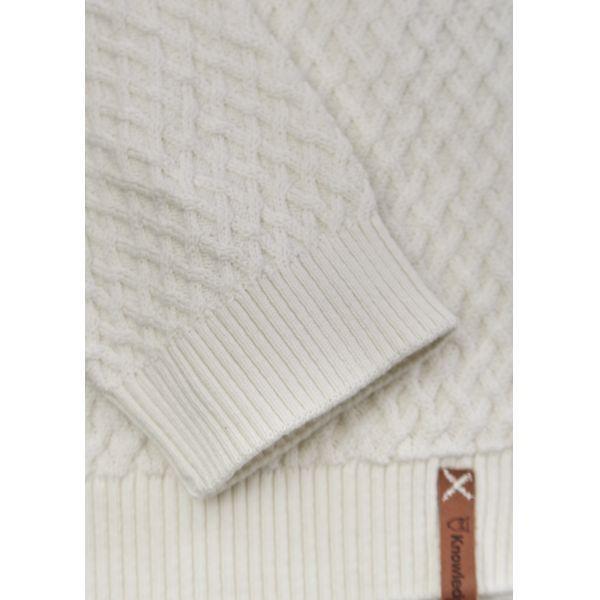 Pull blanc en coton bio - small diamond knit - Knowledge Cotton Apparel num 2