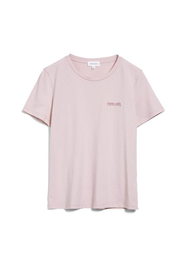 T-shirt brodé rose pâle en coton bio - maraa mindset - Armedangels num 5