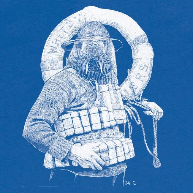 T-shirt en coton bio blue walrus - Bask in the Sun num 2