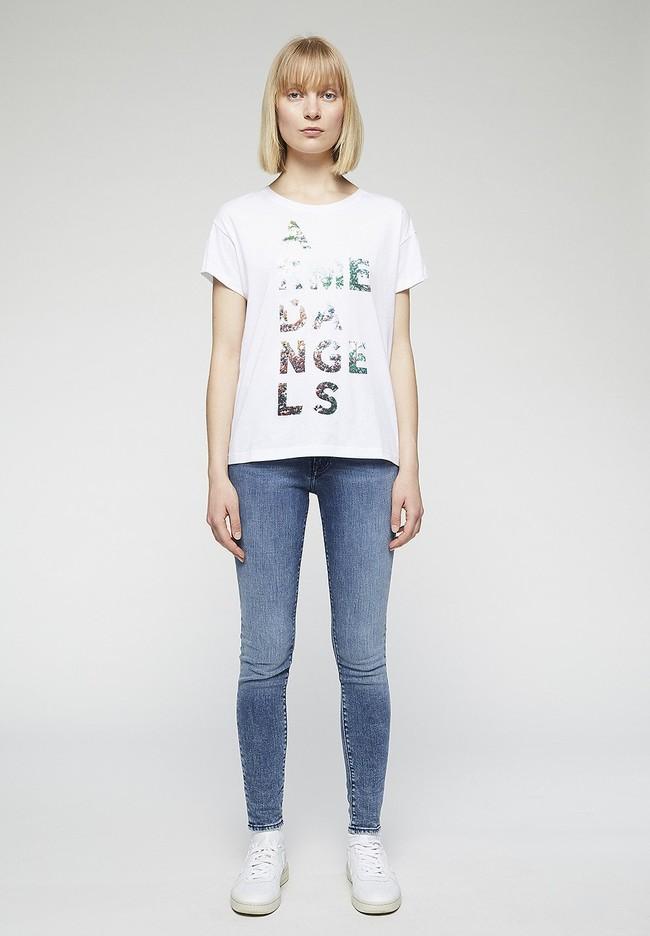 T-shirt imprimé blanc en coton bio - nelaa - Armedangels num 2