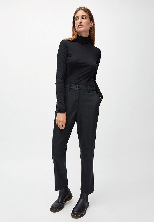 Pantalon à pinces noir en tencel - herttaa - Armedangels num 1