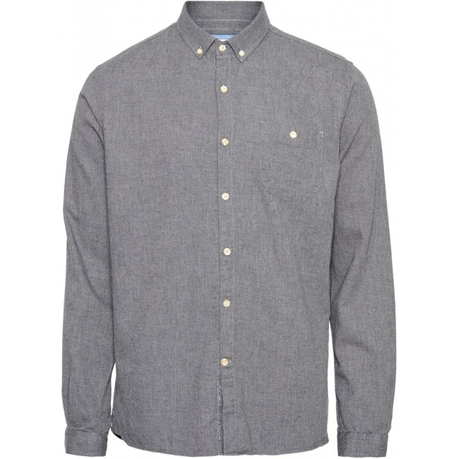 Chemise en flanelle grise en coton bio - elder - Knowledge Cotton Apparel