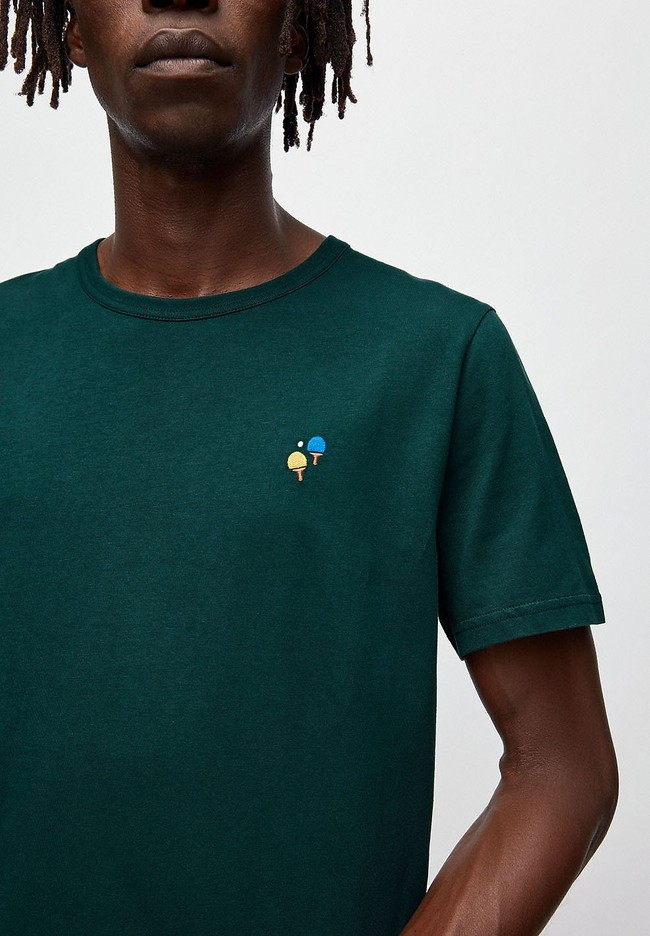 T-shirt vert foncé en coton bio - paul ping pong - Armedangels num 3