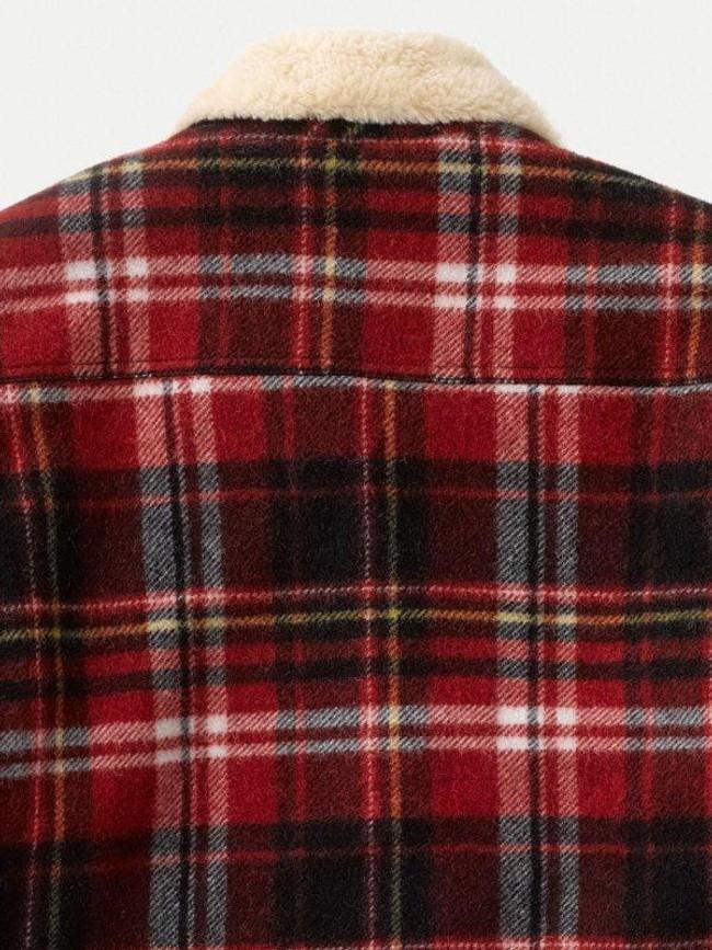 Veste sherpa carreaux rouge en laine recyclée - lenny - Nudie Jeans num 7