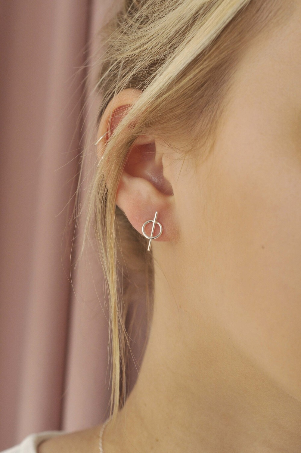 Boucles d'oreilles en argent recyclé - intersected circle - Wild fawn