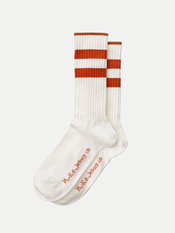 Chaussettes hautes blanc et orange en coton bio - amundsson sport - Nudie Jeans