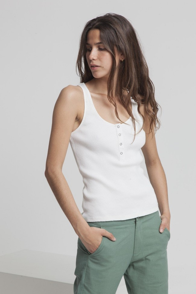 Top avec boutons blanc en coton bio - heidi - Thinking Mu