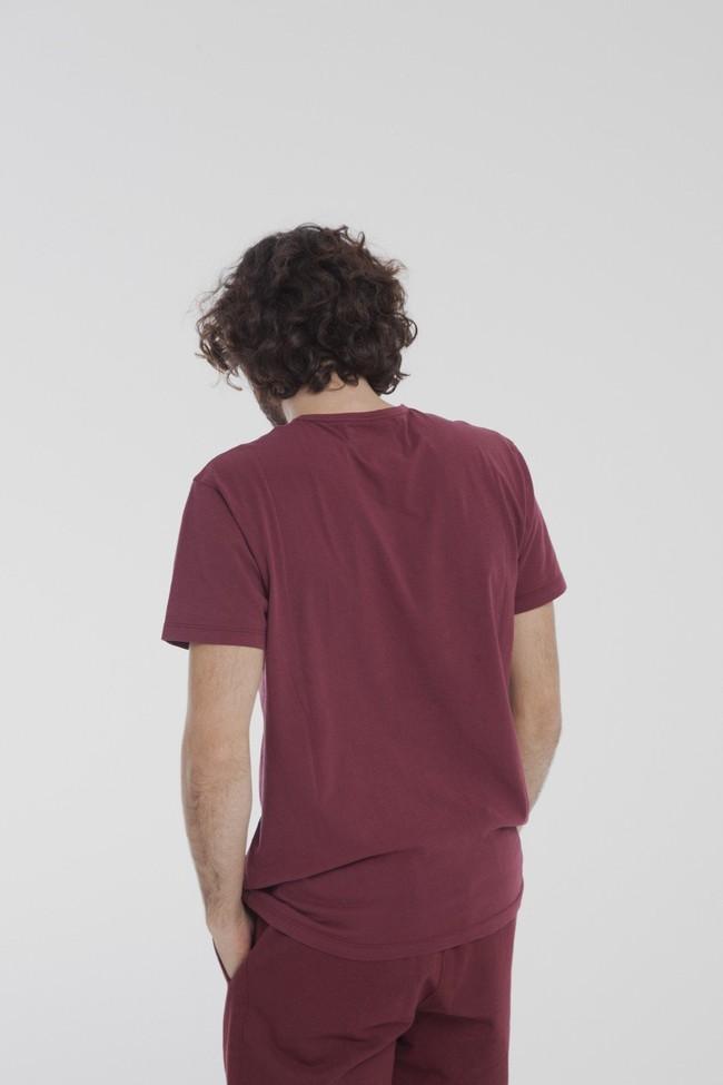 T-shirt uni bordeaux avec poche en coton bio - Thinking Mu num 3