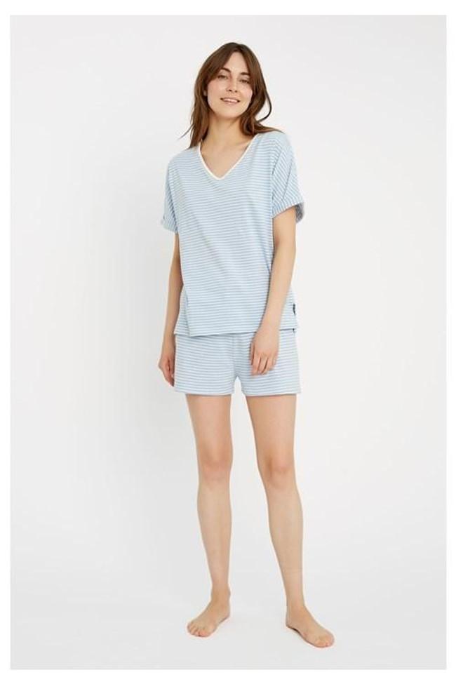 Short pyjama rayé bleu clair en coton bio - People Tree num 3